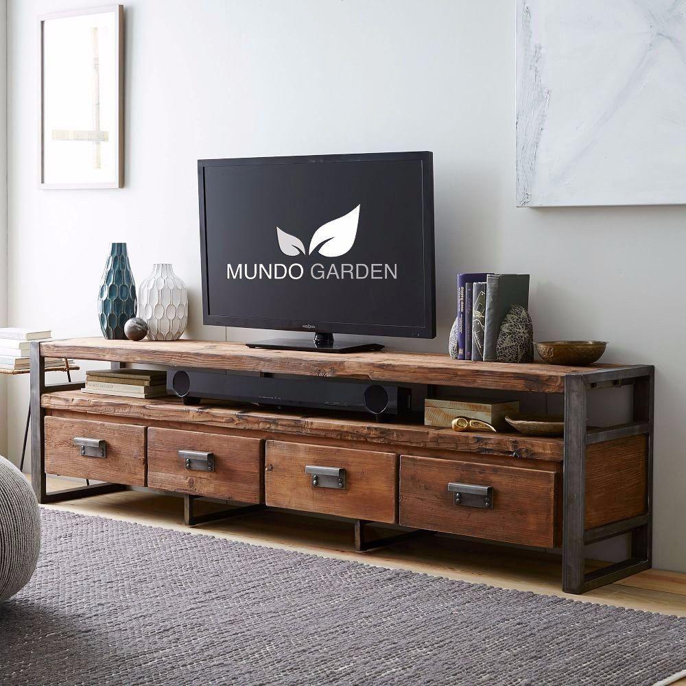 mesa tv (rack) industrial hierro y madera gruesa lo último