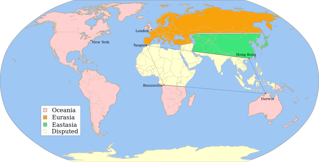 1984 fictitious world map v2 quad - Nations of Nineteen Eighty-Four - Wikipedia, the free encyclopedia