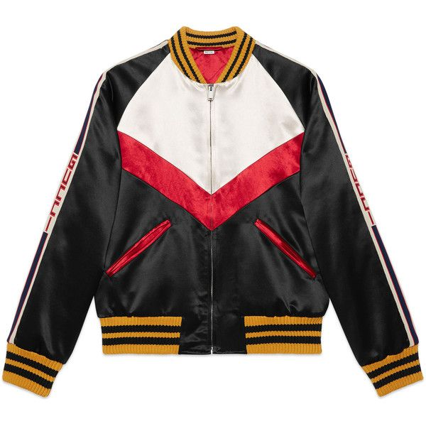 9daf9096004 Gucci Chevron Acetate Bomber Jacket (40.983.945 IDR) â ¤ liked on Polyvore  featuring men s fashion