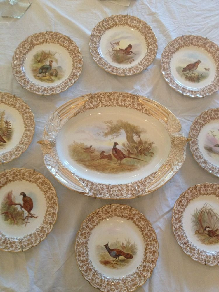 Royal Worcester Virtreous England Decorative Plate Set Birds Game 9 Pieces & Royal Worcester Virtreous England Decorative Plate Set Birds Game 9 ...