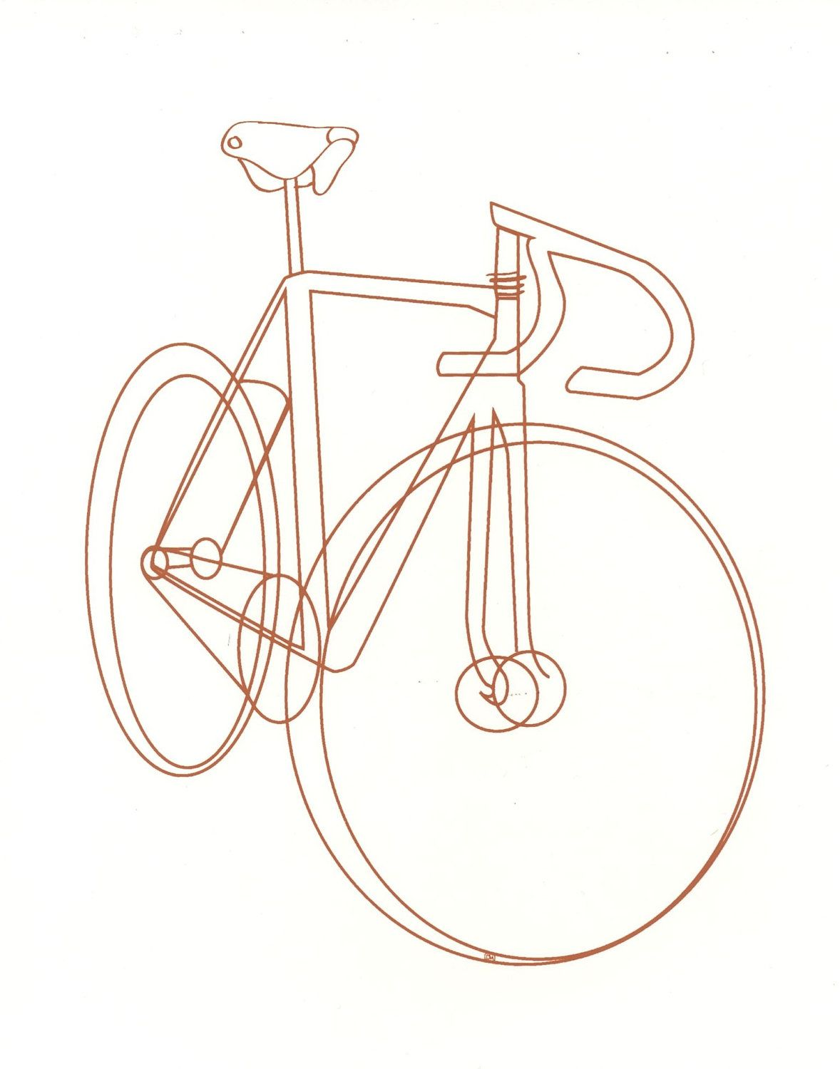 Bike Bicycle Sketch Illustration Silkscreen Print By Chloemarty