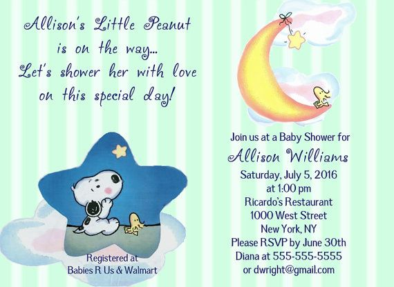 Baby Snoopy Woodstock Moon Stars Cloud Blue Green Or Pink Shower Invitations