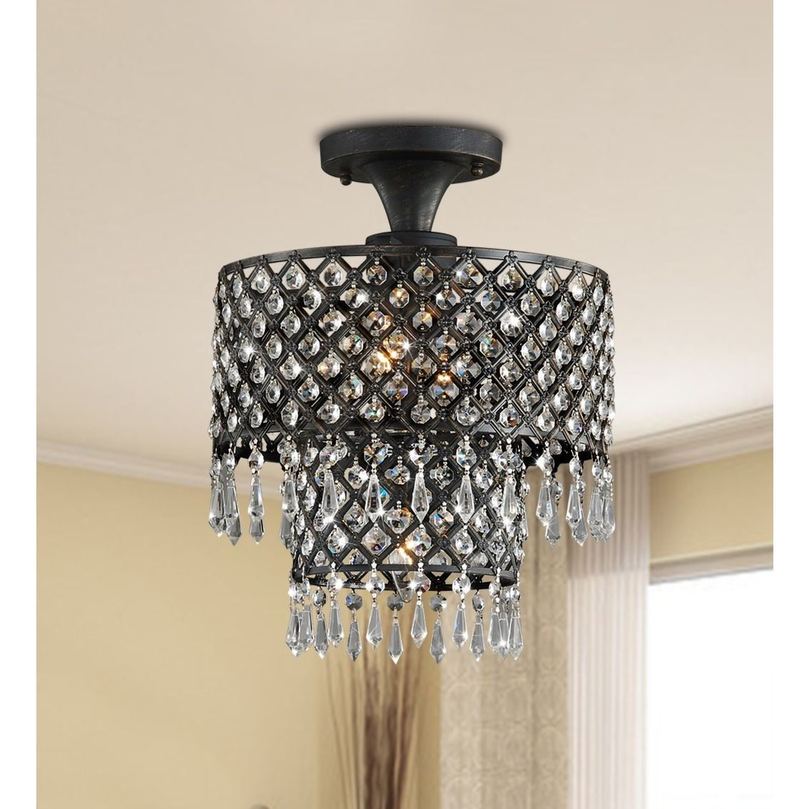 Give Your Home A Dramatic Feature With This Bronze Finished Flush Mount Crystal Chandelier Striking Piece Of Elegance That Will Transform Any Room