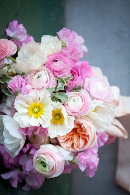 pink ranunculus, garden roses, sweet peas and Icelandic poppies