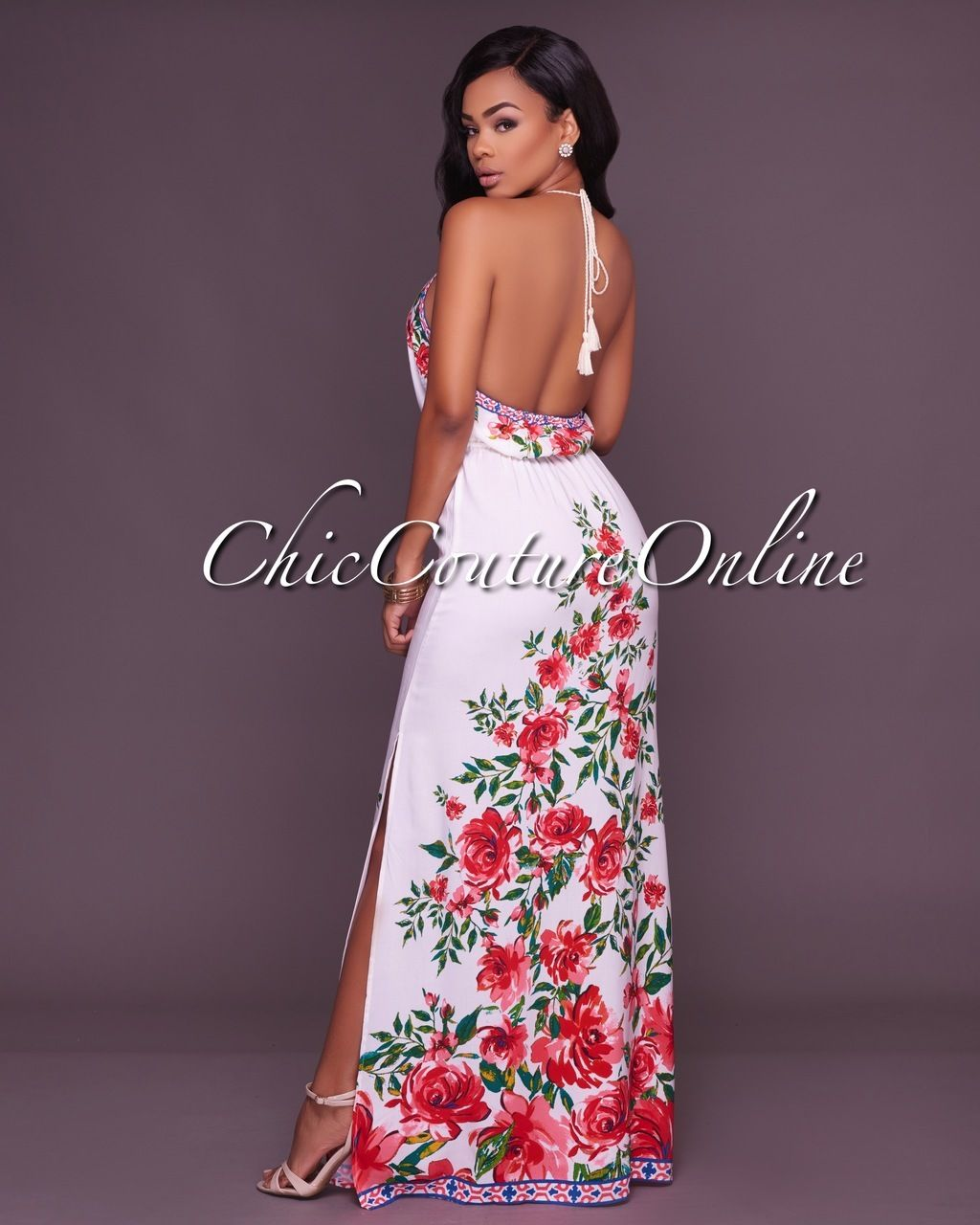 b8b8583f783 Chic Couture Online - Nancy Ivory Multi-Color Floral Print Maxi Dress
