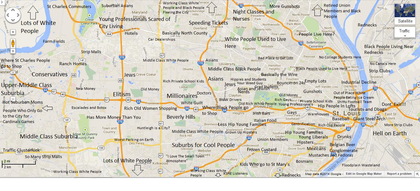 Judgmental Map of St Louis   Map, St louis, Saints