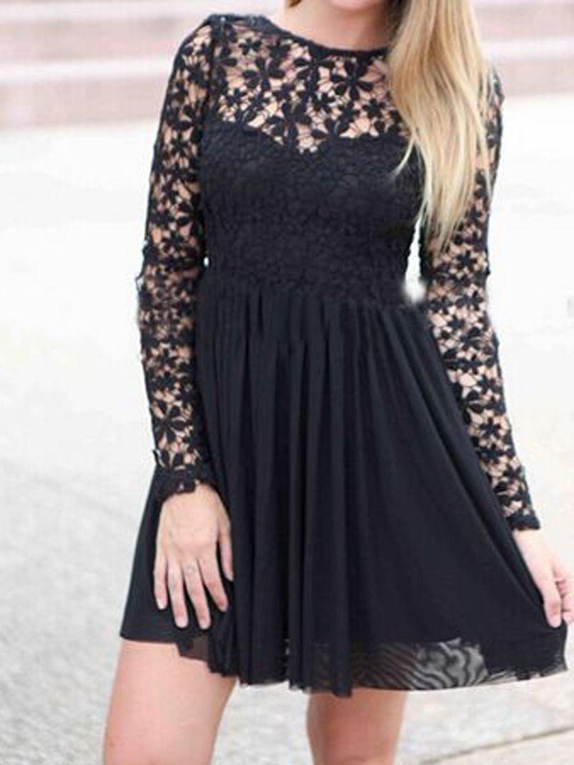 Super cute black lace panel long sleeve backless pleated dress cute