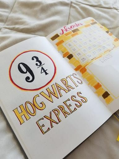Harry Potter Bullet Journal November Layout #octoberbulletjournal