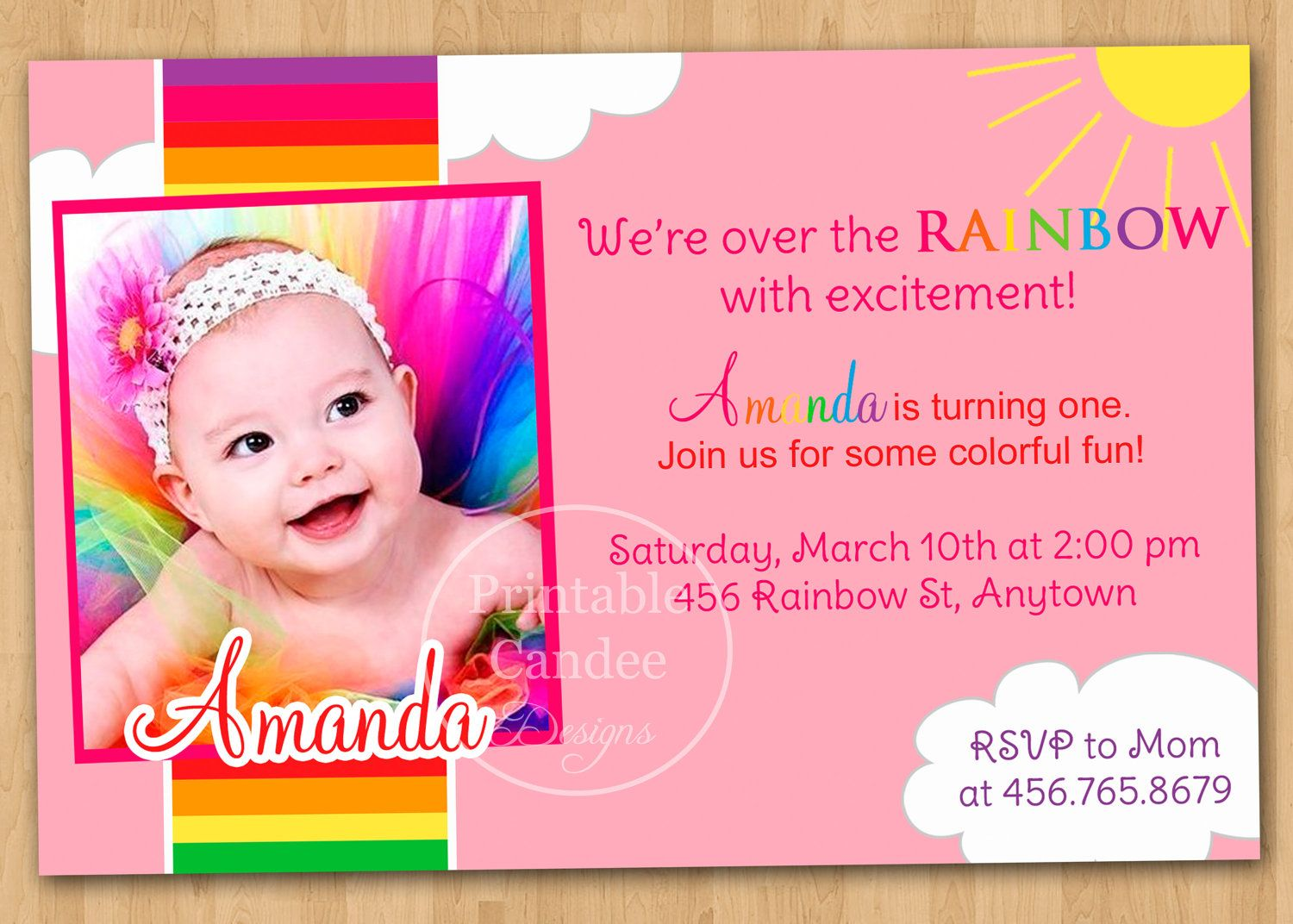 Rainbow First Birthday Invitation