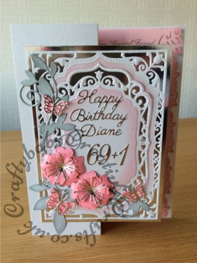 70th Birthday Card Made Using Spellbinders Elegant Labels 4 Inked Through With Distress Inks Bloo Card Making Birthday 70th Birthday Card 80th Birthday Cards