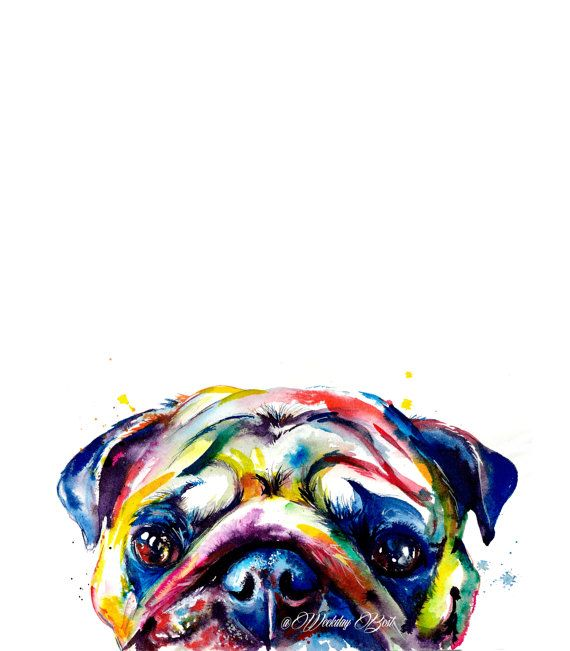 Colorful Pug Art Print Print Of My Original By Weekdaybest Pug