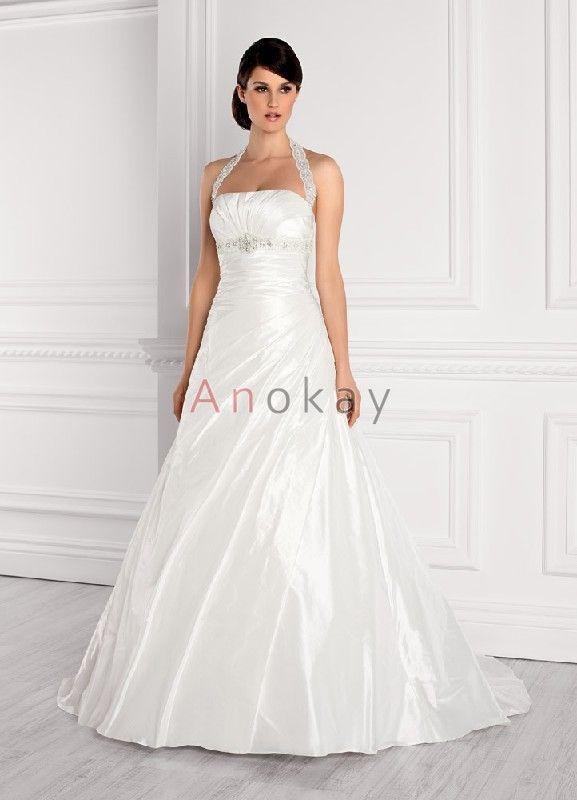 Schichte Neckholder Taft A Line Hochzeitskleider EHS91306001 ...