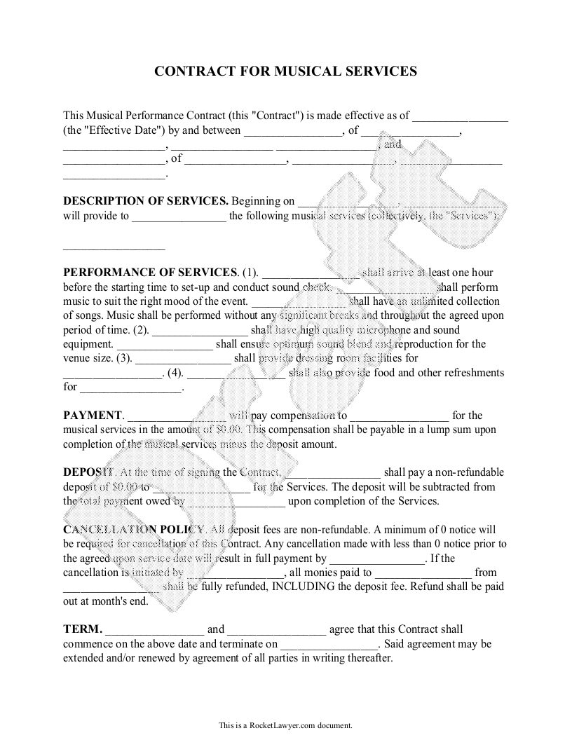 dance contract template - performance contract template performance contract