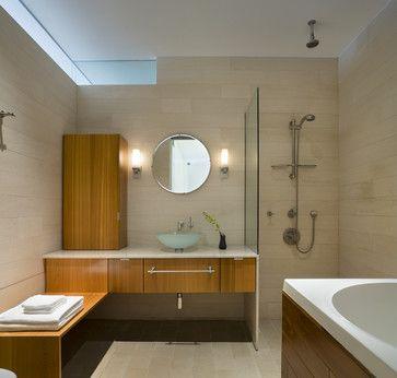 Basement: Shower Glass On Top Vanity, No Door   Floor Slopes To Drain