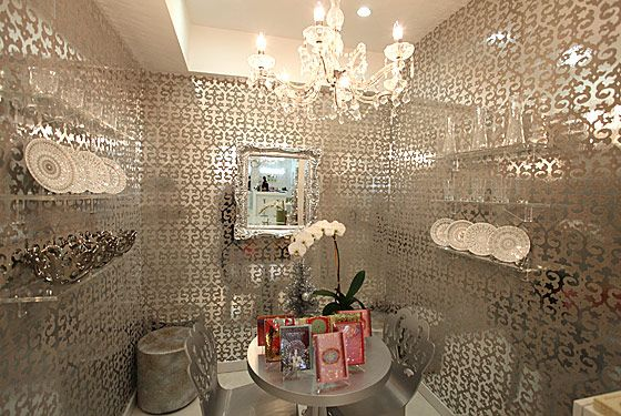 Bling Wall Decor Mirrored Wallpaper Mirror Silver