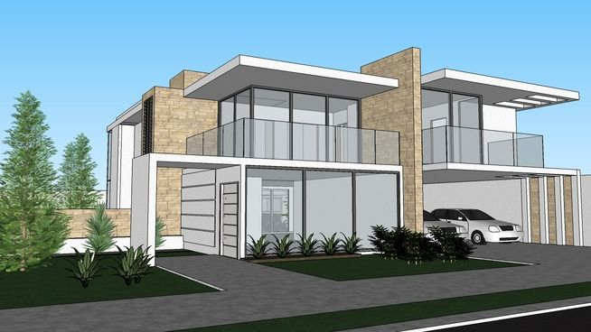 Sobrado moderno 3d warehouse blocos sketchup for Design moderno casa