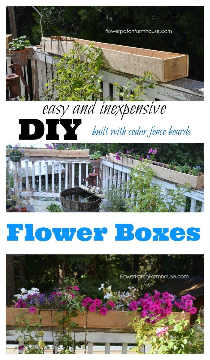 Cheap and easy cedar fence board planters love those boxes create your own diy flower boxes that are easy on the budget fill with seasonal flowers for a beautiful display on your porch patio or deck izmirmasajfo