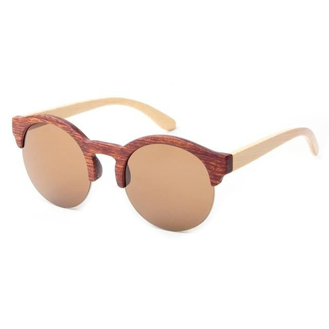 58f9fa87bc Awesome Women s Bamboo Wood Round Vintage Frame Brown Frame Sunglasses with  Mirrored Gradient Lenses  AwesomeWomen