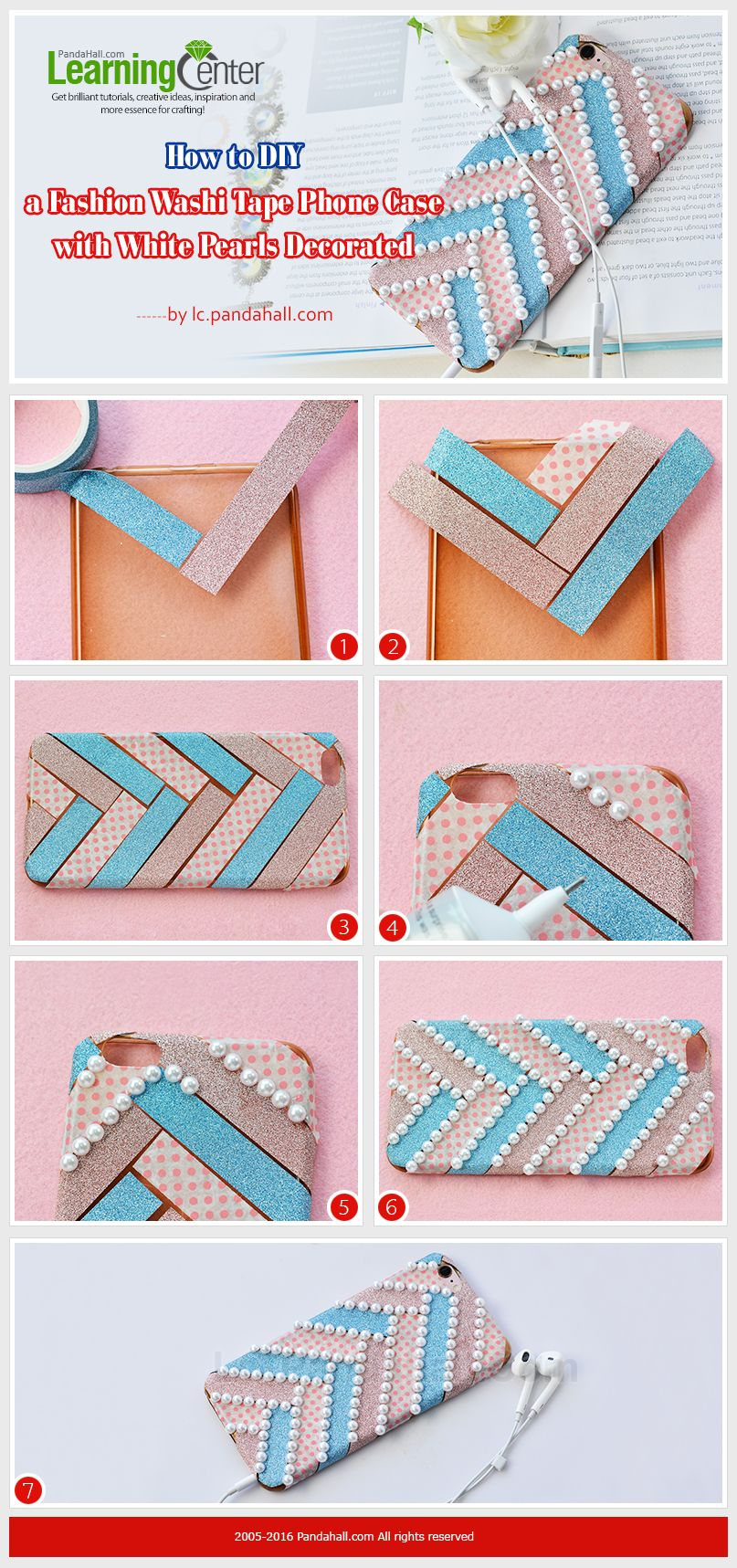e593f9d8e37 Tutorial on How to DIY a Fashion Washi Tape Phone Case with White Pearls  Decorated from LC.Pandahall.com #pandahall