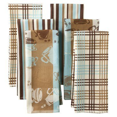 Egyptian Cotton Kitchen Towel Set Of 6   Blue/Brown // Could Be Cute