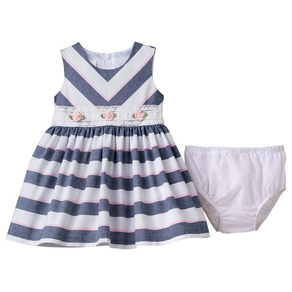 Baby girl bonnie jean striped rosette dress size months blue