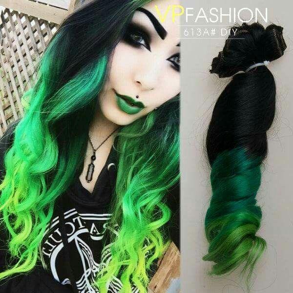 Black And Bright Green Green Hair Black And Green Hair Rainbow Hair Color