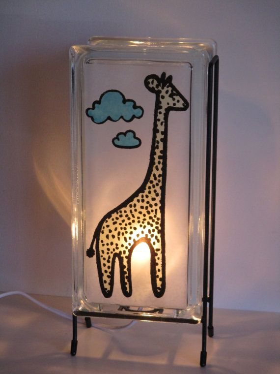 Giraffe accent lamp FREE SHIPPING glass block di Glowblocks