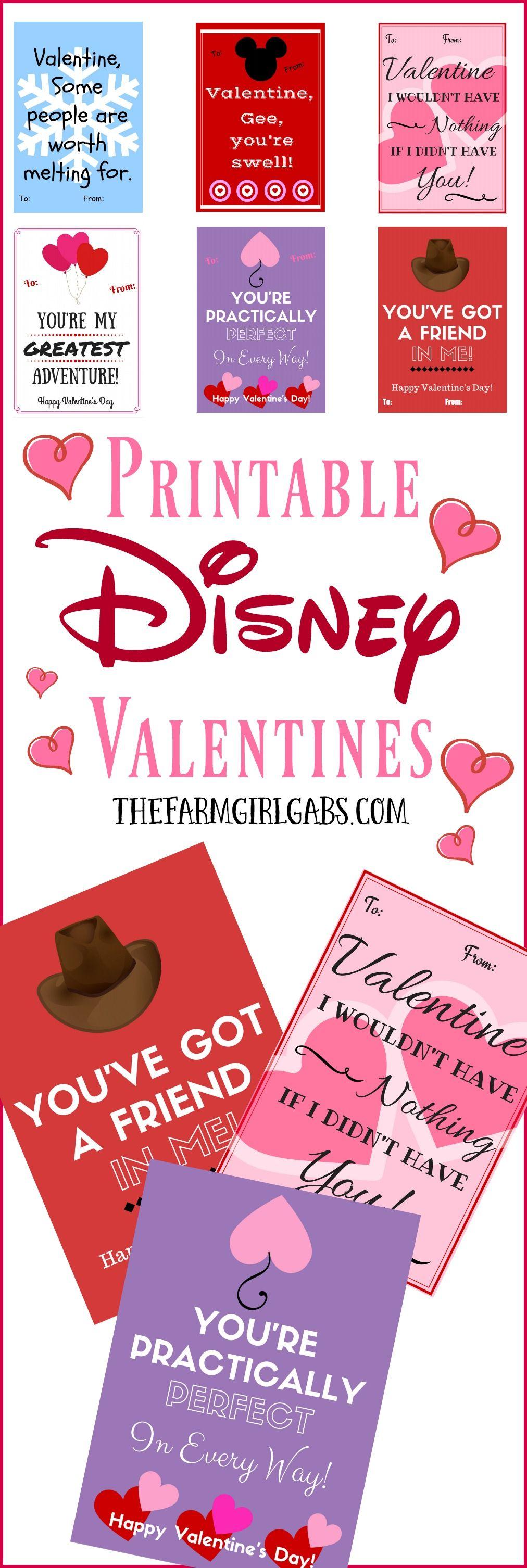 Free printable disneyinspired valentines disney