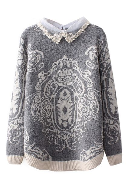 Dual-tone Totem Knitted Jumper 35.17