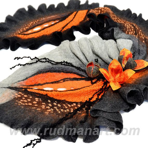 NEW Felted scarf 3D ART made from wool and silk Black by RudmanArt, $189.00