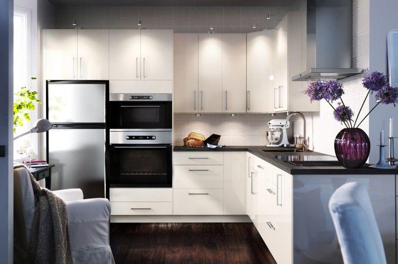 Kitchen Minimalis Ikea Small Kitchen Ideas Come With L Shape White Wooden High Gloss Kitchen Cabin With Images Kitchen Design Small Small Kitchen Decor Top Kitchen Designs