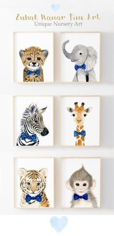 Safari Nursery Prints, Set of 6 Nursery decor Nursery wall Art Safari Nursery Prints Animal Prints Nursery Jungle nursery Nursery wall art