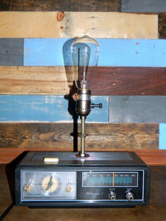 Vintage Radio Lamp Retro Radio Reading Lamp By Thecleverraven Retro Radios Vintage Radio Industrial Light Fixtures