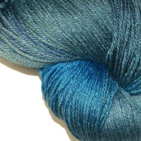 BLUE LAGOON 50% Superwash Merino and 50% Silk Hand Dyed Poet Seat Yarn, Price: $30.00 at kangaroodyer.com.  This is very nice!-LM.