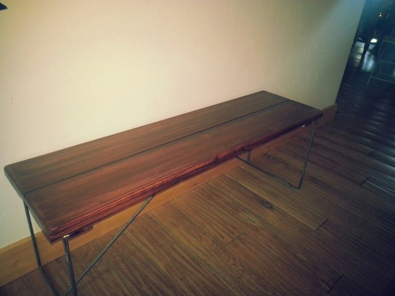Wood and metal bench.