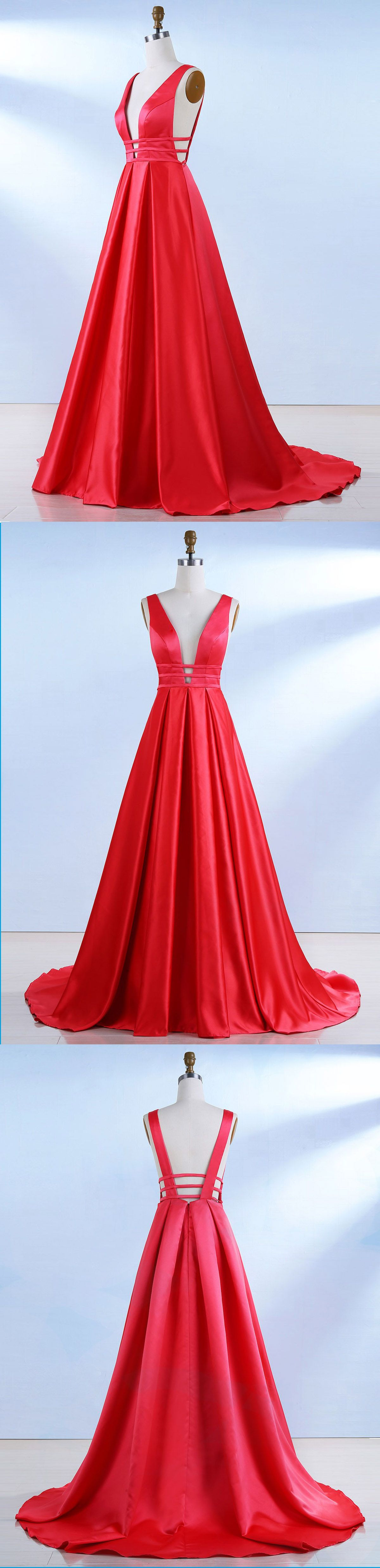 Red satin long hollow out open back senior prom dress red long
