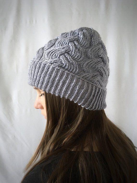 0dcf22629ec Women s Cable Knit Beanie Wool Silk Cashmere Hat in Soft Grey in ...