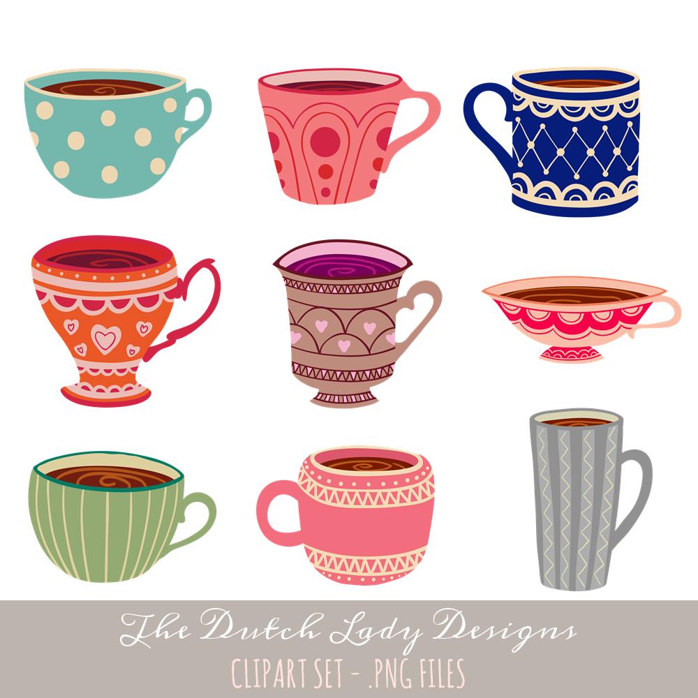 Tea Cup Clipart Set Instant Download 34 Png Images Clip Art Tea Cups Watercolor Circles