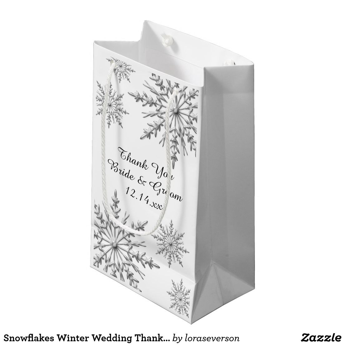 Snowflakes Winter Wedding Thank You Small Gift Bag | Wedding Favors ...
