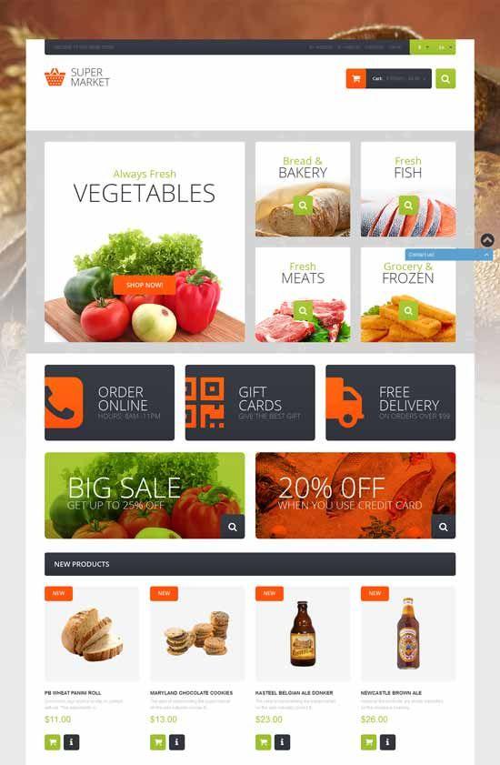 Supermarket Template Magento Foods Theme Food Web Design Organic Food Store Magento Themes