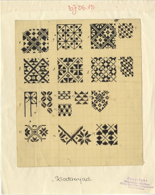 Some more hand drawn beauties - Estonian mitten patterns