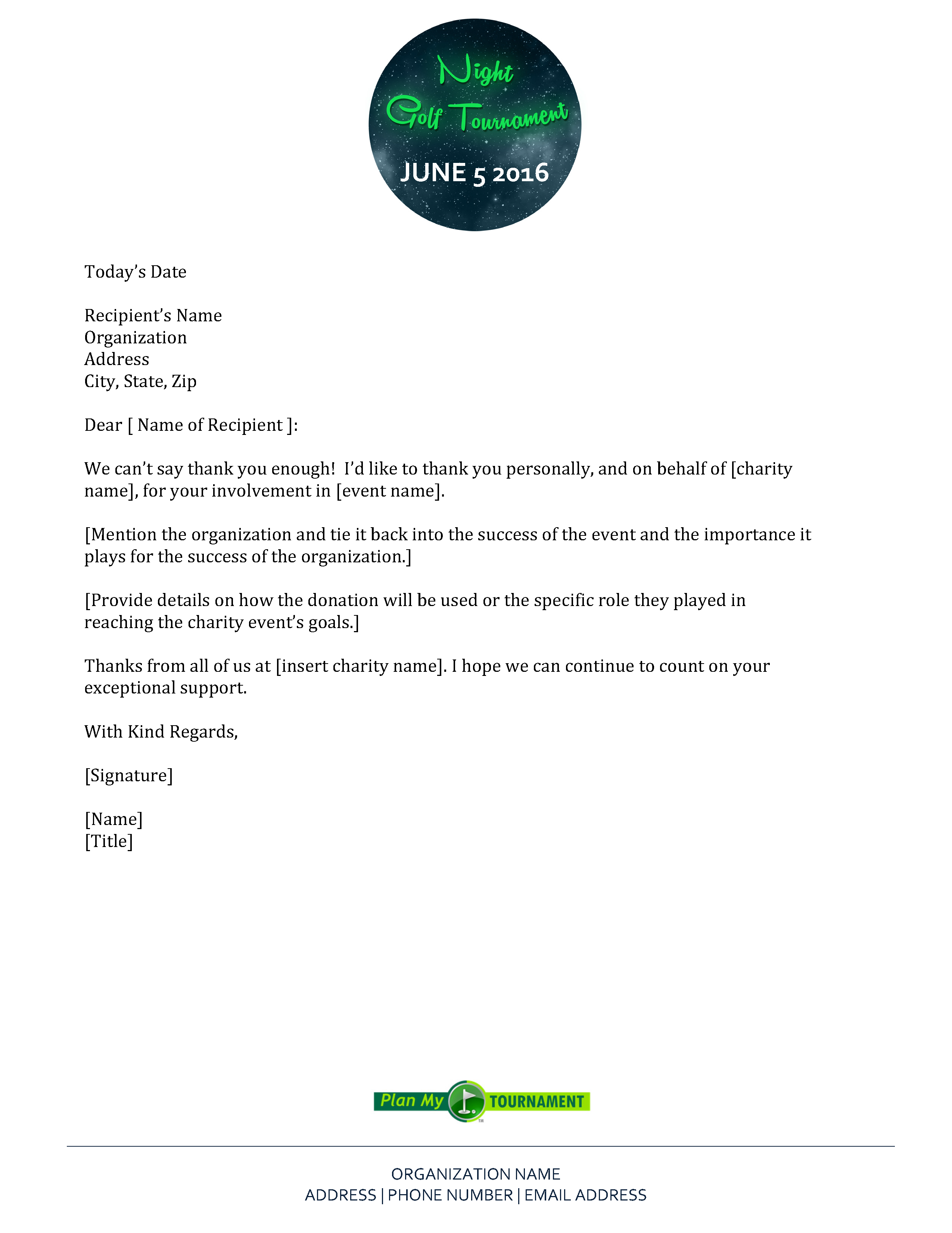 Free Night Golf Tournament Thank You Letter Template Http Planmytournament Com Plan Tournament Whi Thank You Letter Template Golf Tournament Letter Templates