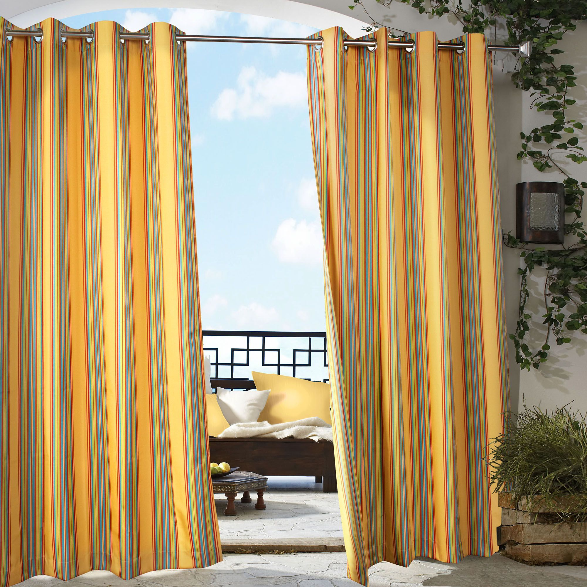 Marvelous Print Of Indoor Outdoor Curtains Displaying Beautiful Details That Can Be  The Source Of Attraction