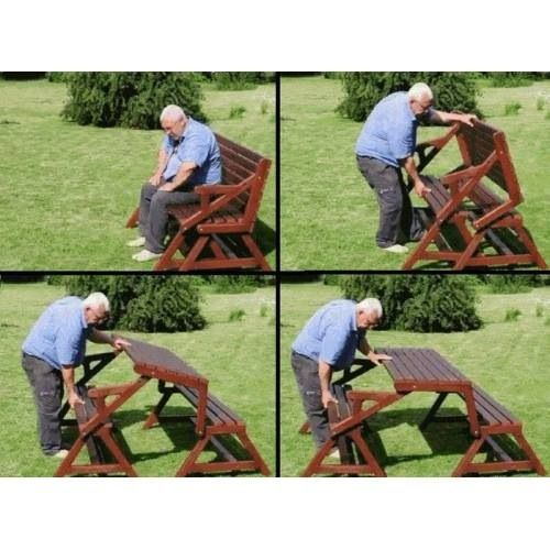 The Folding Picnic Table Has A Great Space Saving Design For The Garden  With Limited Space. 2 In 1 Design Easily Converts From Picnic Table To  Garden Bench ...