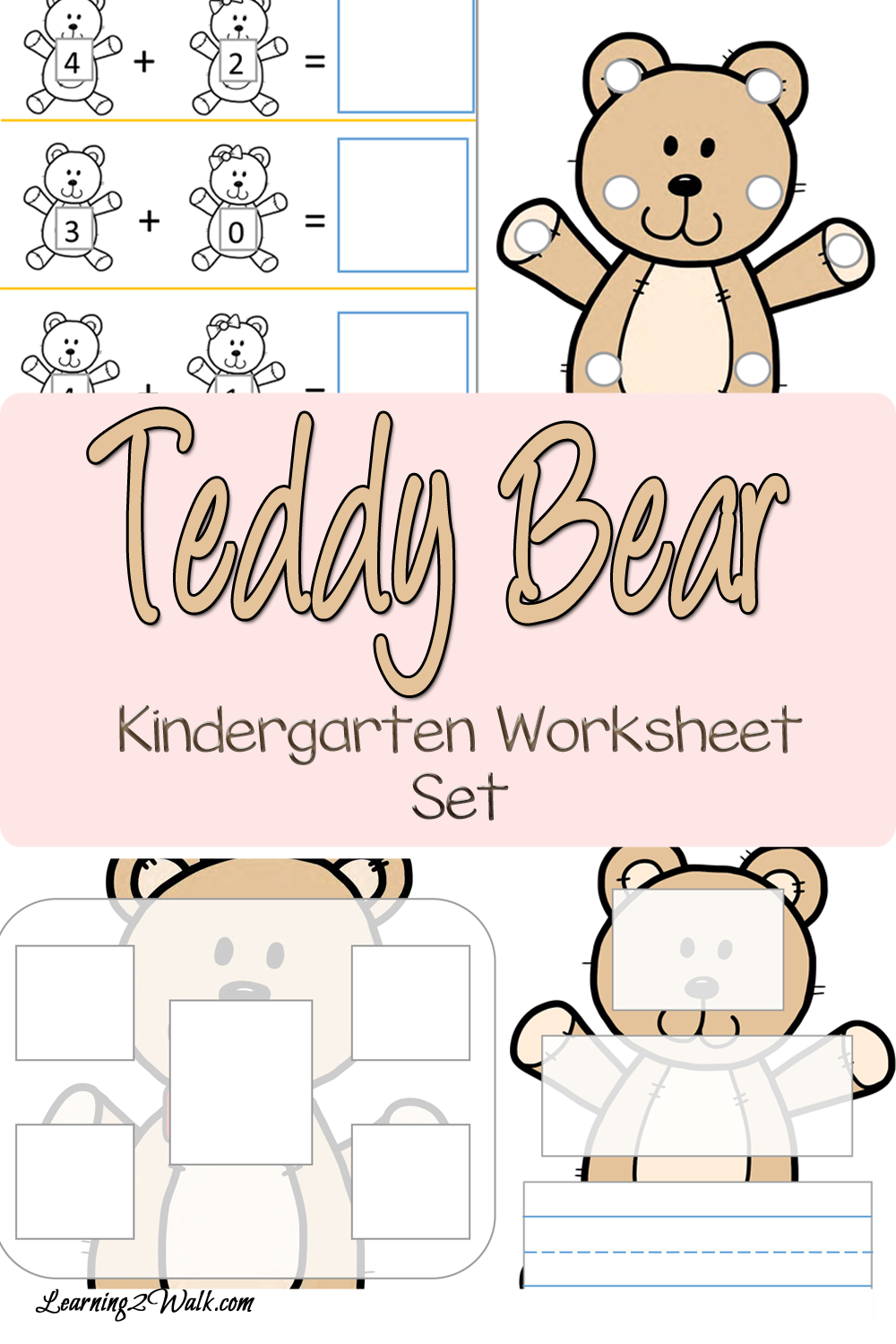 Teddy Bear Kindergarten Worksheet Set | Kind