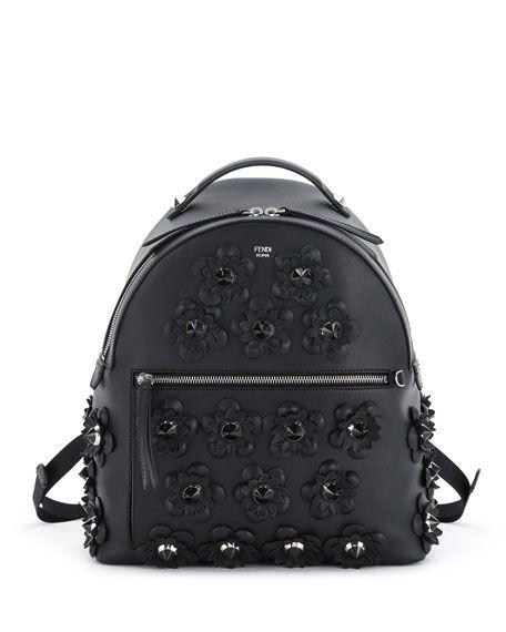 c0a91a547bec FENDI Floral-Appliqué Leather Backpack