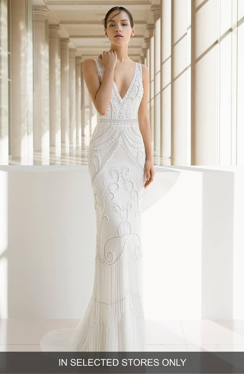 Natural wedding dresses  Rosa Clará Kara Beaded Trumpet Gown Main color NATURAL  Wedding