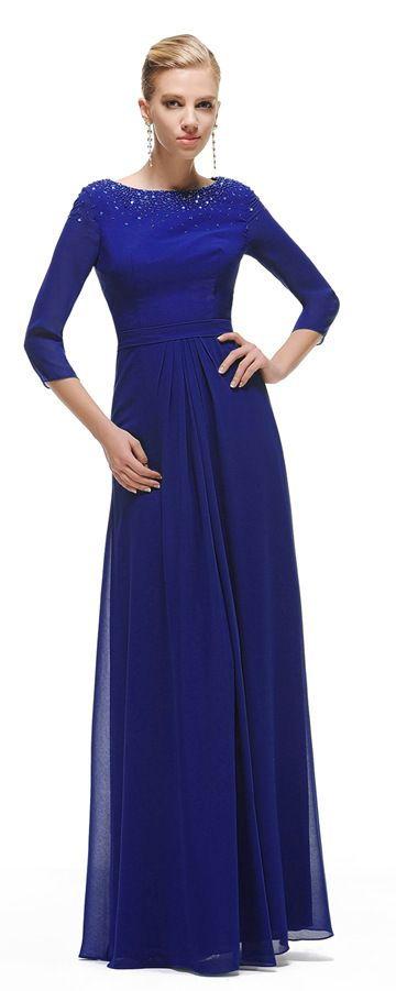 Modest Royal Blue Bridesmaid Dress with Sleeves | Modest ...