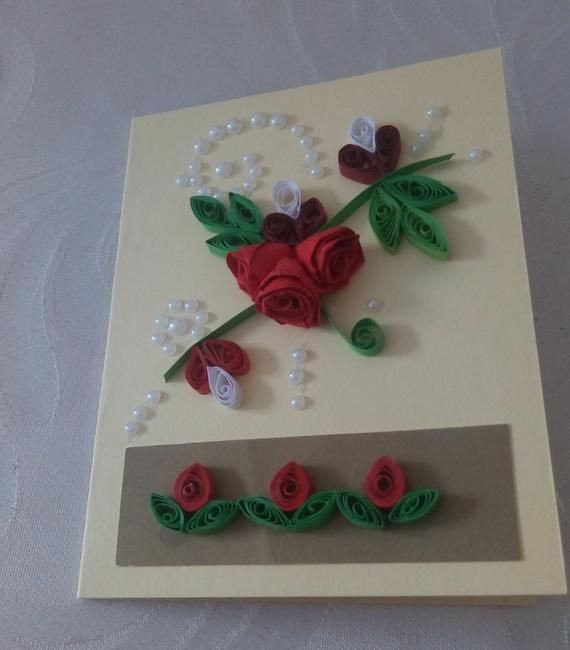 quilled flowers greeting card  cards handmade quilling