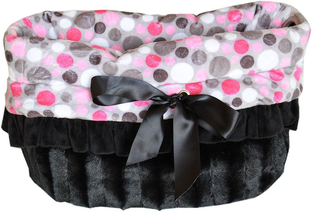 Pink Party Dots Reversible Snuggle Bugs Dog Bed, Bag, and